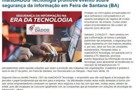 maisDADOS Tecnologia promove evento sobre segurança das informações – TI BAHIA